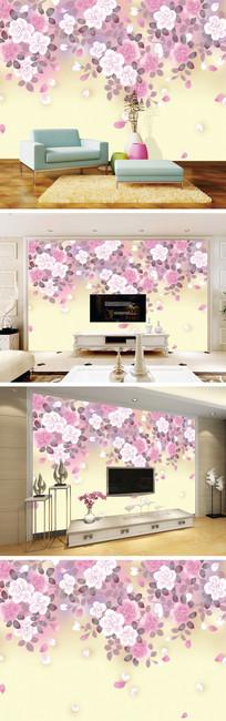 手绘花朵花瓣背景墙