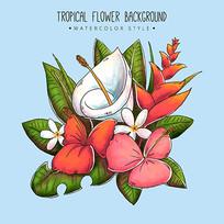 水彩热带花卉图案瓷砖贴纸图案