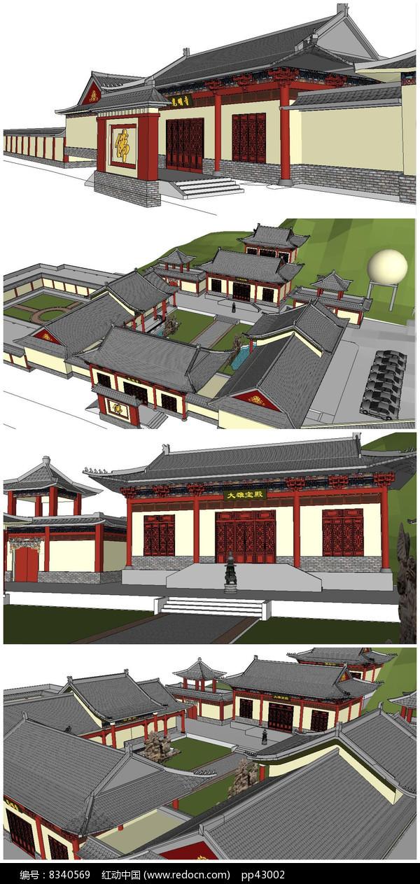 寺庙古建筑SU模型图片