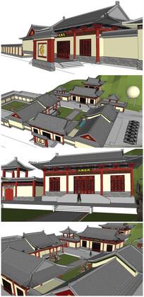 寺庙古建筑SU模型 skp