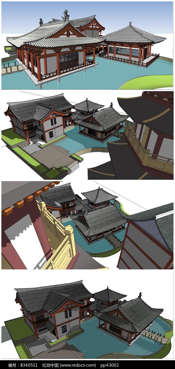 宋代古建筑群SU模型图片