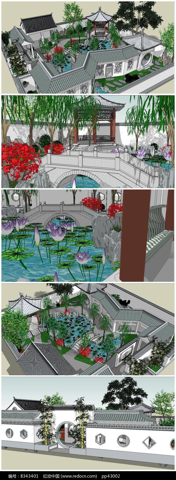 苏州古典园林建筑SU模型图片
