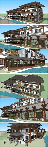 唐代风格大酒店SU模型素材 skp