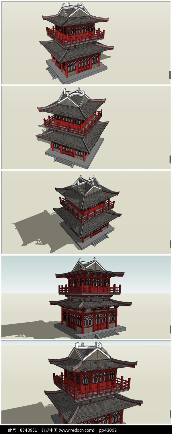 唐代阁楼SU模型素材图片