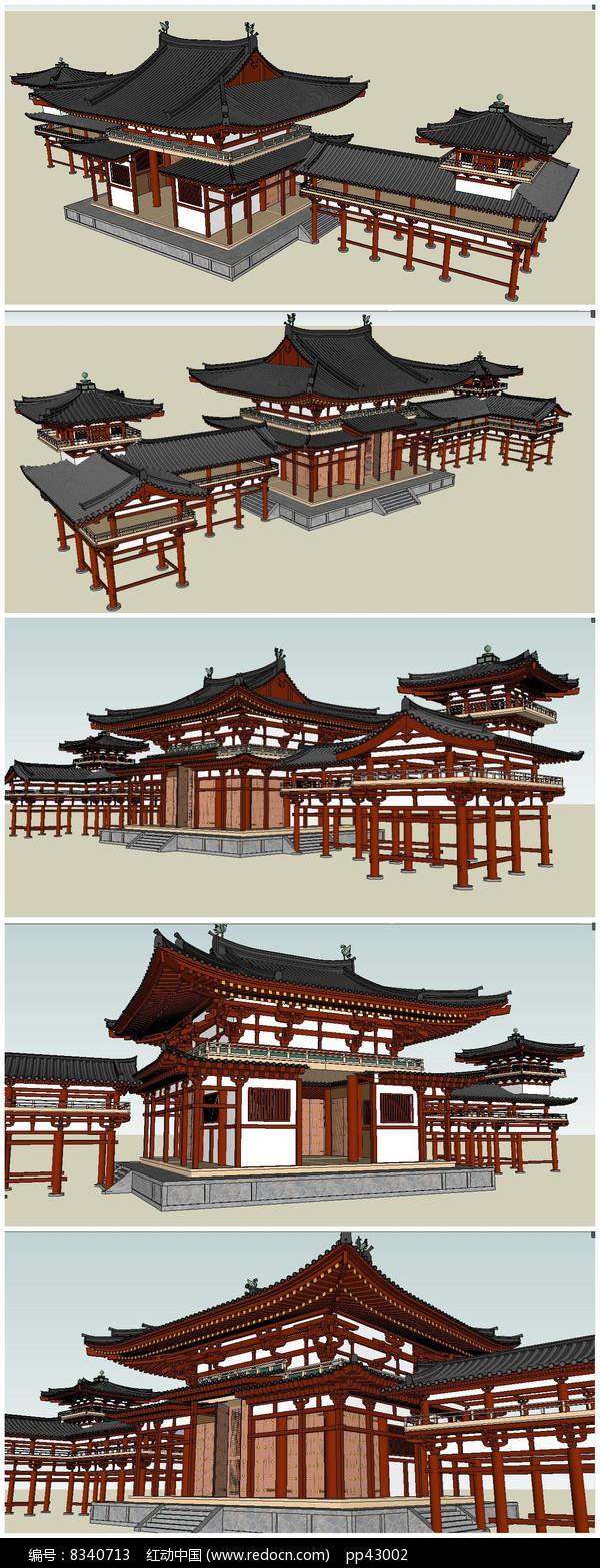 唐代古建筑SU模型素材图片