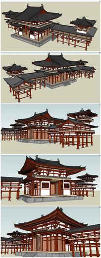 唐代古建筑SU模型素材 skp