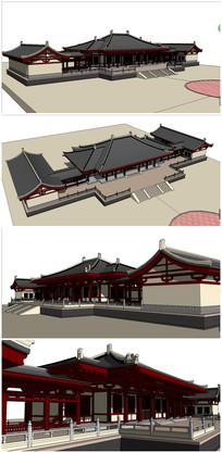唐代古建筑宫殿SU模型素材 skp