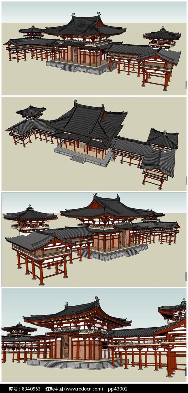 唐风古建SU模型素材图片