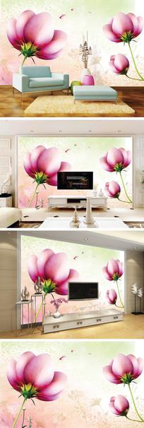 唯美手绘花朵背景墙