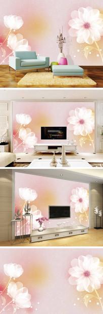 唯美透明花背景墙