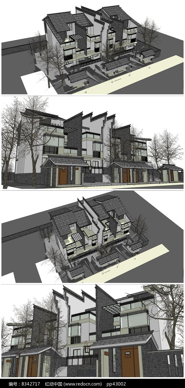微派联排别墅住宅SU模型图片