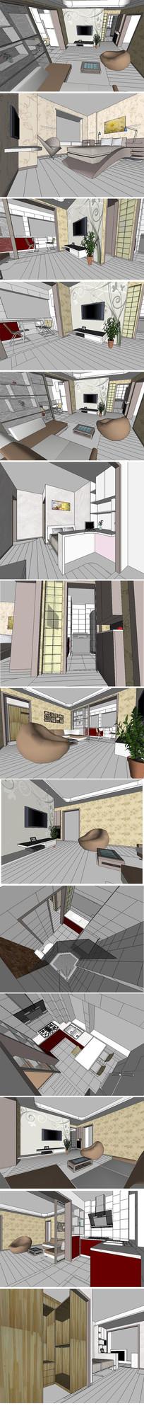 现代风格整套室内装修SU模型