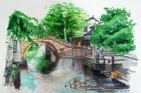 小桥流水手绘
