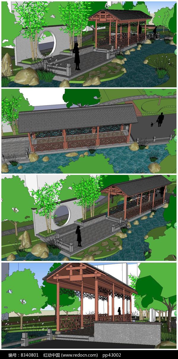 小区景墙廊桥SU模型图片