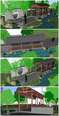 小区景墙廊桥SU模型 skp