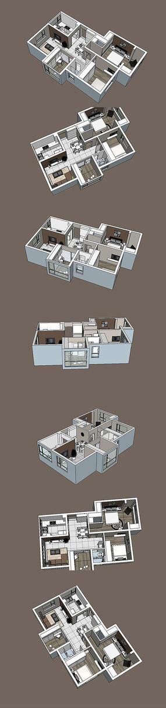 小三房户型室内SU模型设计