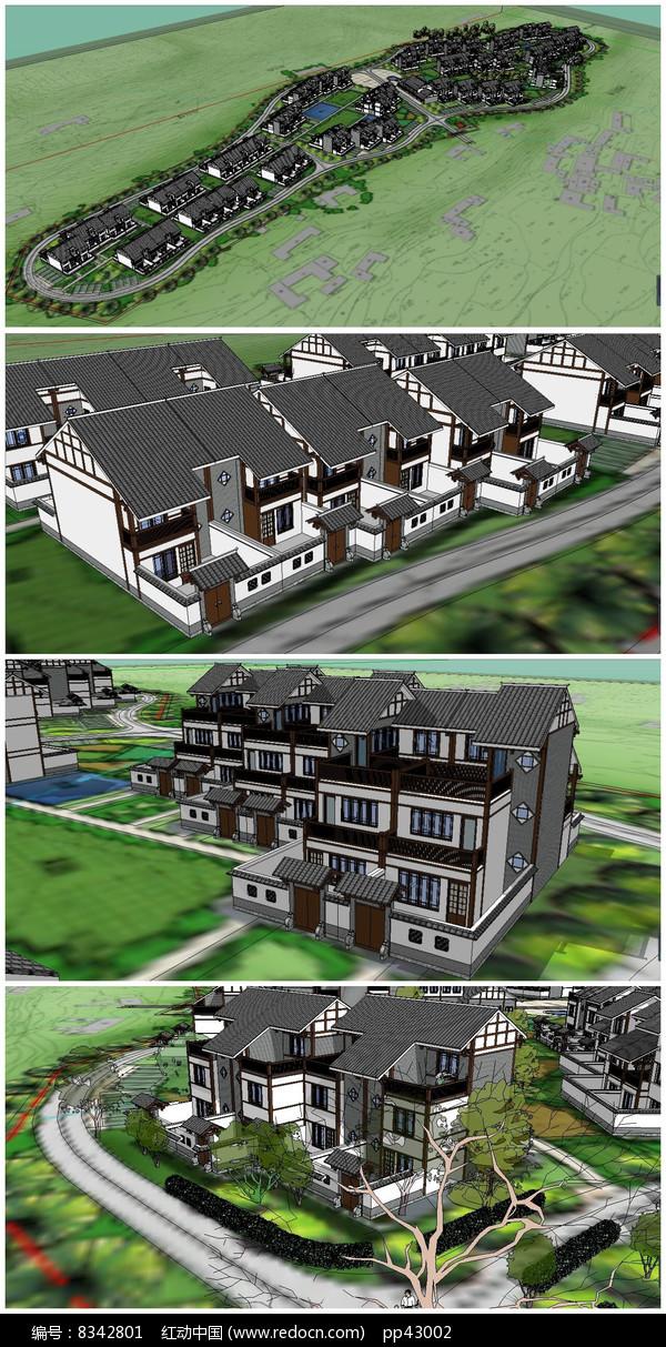 新农村别墅规划SU模型图片