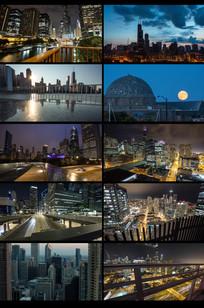 延时城市夜景视频素材 mp4