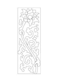 移门花卉元素雕刻纹样