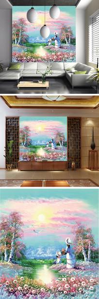 油画花丛看日出背景墙