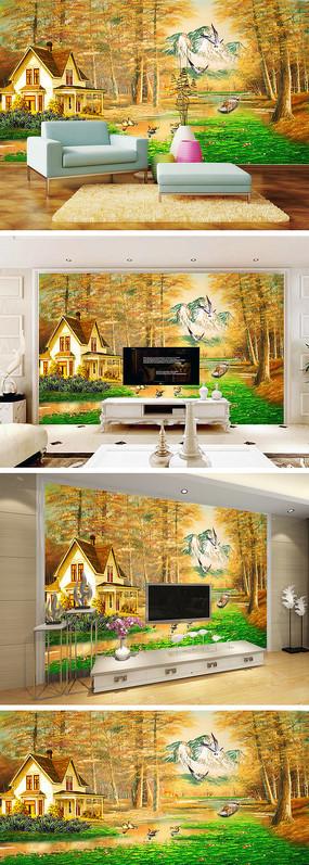 油画森林荷塘别墅背景墙