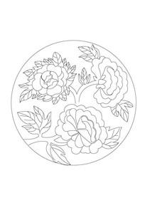 圆形牡丹石雕纹样