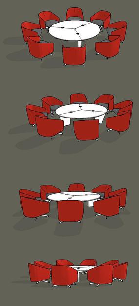 圆形商务会议桌椅SU模型设计