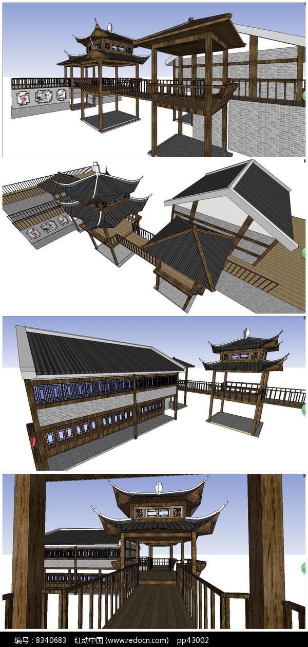 中国古建连廊亭子SU模型图片