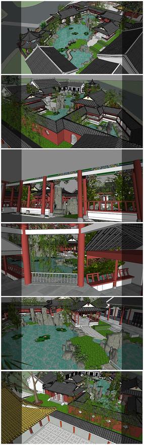 中式传统风格仿古建筑SU模型 skp