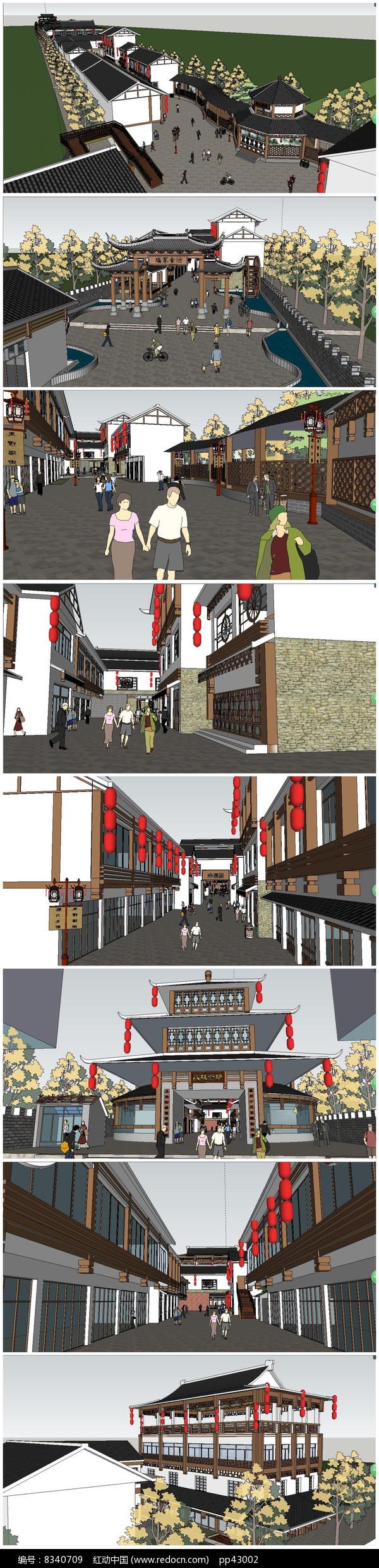 中式传统风情街SU模型图片