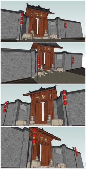 中式大宅门SU模型素材