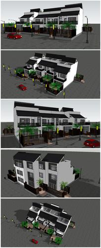 中式叠层住宅别墅SU模型素材