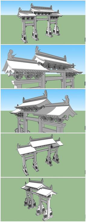 中式斗拱牌坊SU模型素材