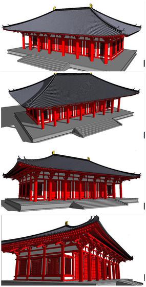 中式古代宫殿SU模型素材