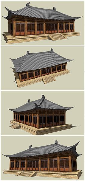中式古典风格大殿SU模型素材