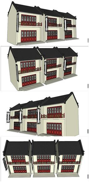 中式古典联排酒楼SU模型素材 skp
