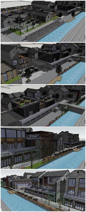 中式古典商业街方案SU模型