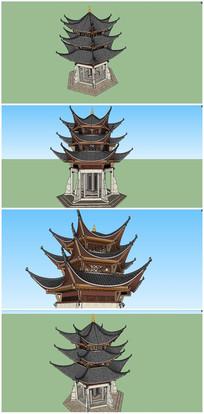 中式古典双凤亭SU模型素材 skp