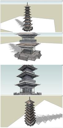 中式古典四角塔SU模型 skp