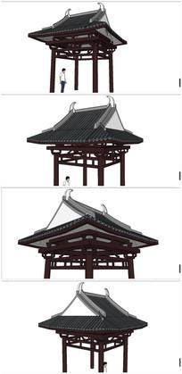 中式古典亭SU模型素材 skp