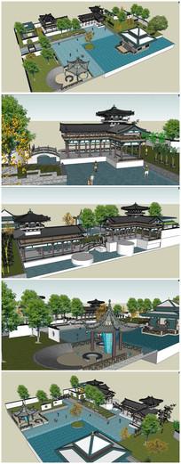 中式古典庭院SU模型素材 skp