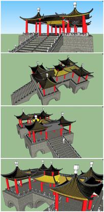 中式古典五亭桥SU模型素材 skp