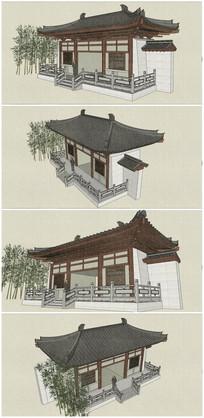 中式古典小山门SU模型素材 skp