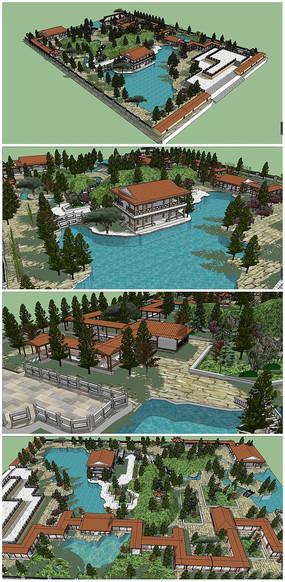中式古典园林风格的公园 skp