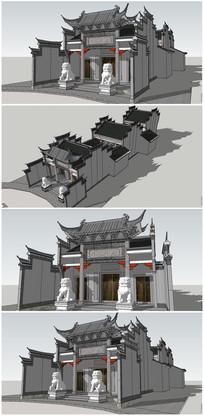 中式古建祠堂SU模型 skp