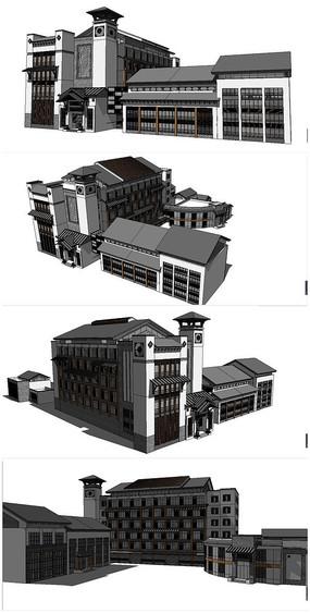 中式古建筑图书馆SU模型素材