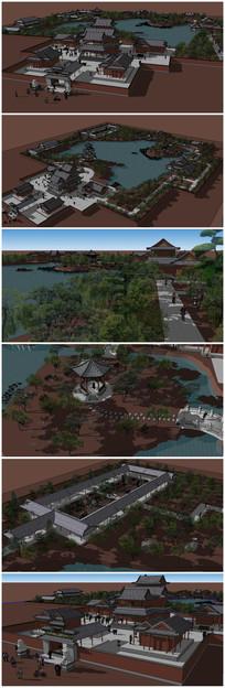 中式古建筑园林景观SU模型 skp