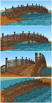 中式景观木桥SU模型
