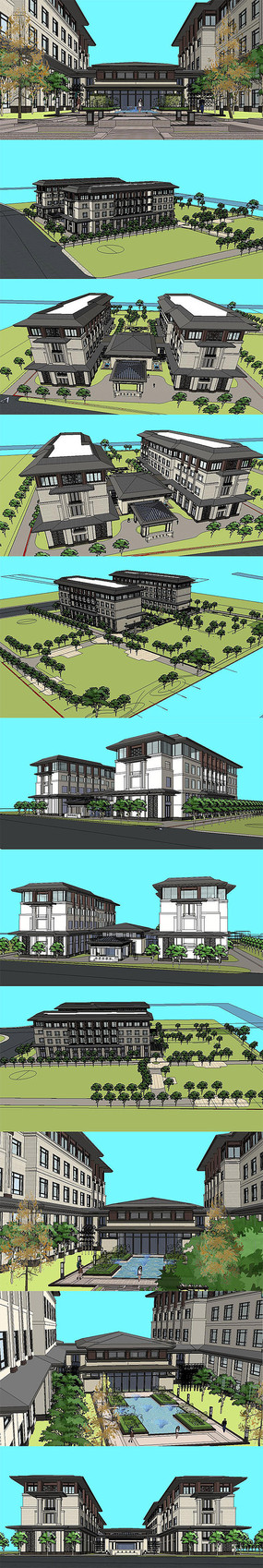 中式酒店建筑体模型SU设计