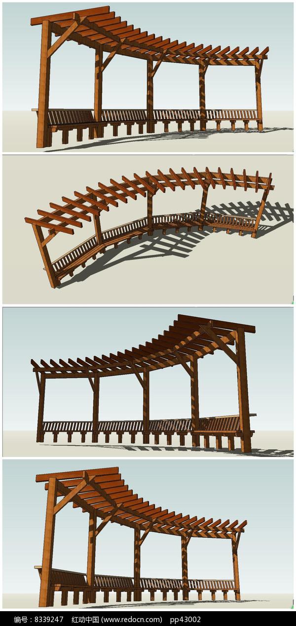 中式木制廊架花架su模型素材图片图片
